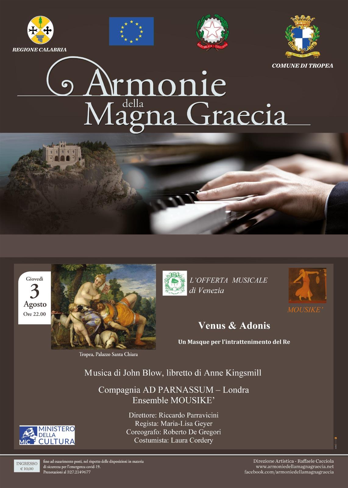 Armonie della Magna Graecia – Giovedì 3 Agosto ore 22.00 Palazzo S. Chiara